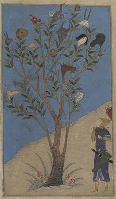 Eskandar (Alexander the Great) contemplates the Talking Tree Ferdowsi, Shahnameh Timurid: Shiraz, Patron: Ebrahim Soltan b. Shah Rokh Illuminator: Nasr al-Soltani Opaque watercolours, ink and gold on paper Couching Stitch, Iranian Art, Alexander The Great, Medieval Art, Orient, Illuminated Manuscript, Voynich Manuscript, Art And Illustration, Ancient Art