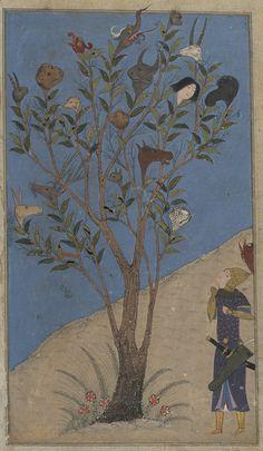 Eskandar (Alexander the Great) contemplates the Talking Tree,Illustration for Ferdowsi'sShahnameh,Shiraz,c.1430 Commissioned by Ebrahim Soltan, Timur's grandson.Illuminator: Nasr al-Soltani.Opaque watercolours, ink and gold on paper Source: The Fitzwilliam Museum