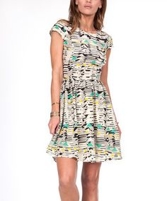 This Geometry Open-Back Silk Cap-Sleeve Dress is perfect! #zulilyfinds