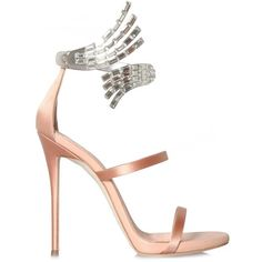 Giuseppe Zanotti Vera Satin Sandals (13,720 MXN) ❤ liked on Polyvore featuring shoes, sandals, heels, high heels, strappy sandals, pink satin shoes, strap sandals, high heeled footwear and pink high heel shoes