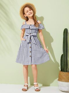 To find out about the Girls Cold Shoulder Foldover Front Striped Dress at SHEIN, part of our latest Girls Dresses ready to shop online today! Frocks For Girls, Kids Frocks, Kids Outfits Girls, Little Girl Dresses, Girl Outfits, Girls Dresses, Cute Outfits, Kids Summer Dresses, Girls Fashion Clothes