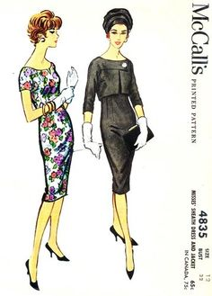 McCall's Pattern 4835 Vintage 50's Elegant Fitted Sheath Dress + Short Jacket Complete Size 12 Bust 32