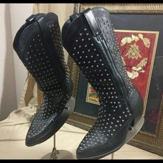 Great Dingo Studded Boots ❗️ 8M Are these Boots awesome or what.  Check out the pics.  Made in Brazil. Sz 8M.  Barely worn!  In great condition. Dingo Shoes Heeled Boots