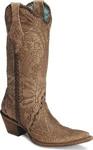 Corral Embossed Lace Cowgirl Boots - Pointed Toe