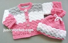 Free crochet pattern for coat and hat set, suitable for preemie baby or 16 inch in length doll http://www.justcrochet.com/dolls-coat-hat-usa.html #justcrochet
