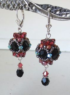 Padparadscha and Black Beaded Bead Earrings