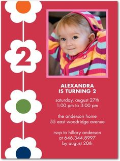 flower chain daisy birthday party invitations