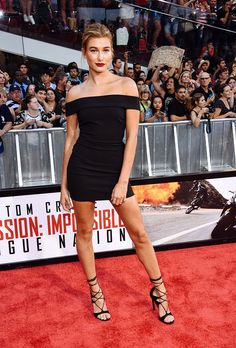 IT GIRL Style: Hailey Baldwin in an off-the-shoulder mini dress + lace-up heels