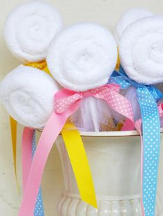 Baby Shower Washcloth Lollipop Party Favor. Love that it will be a useful gift!