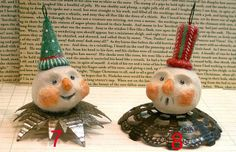 two snowmen with vintage tin by GinnyDiezelStudios, via Flickr