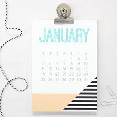 2015 Monthly Calendar Wall Desk Office Supplies Teacher Christmas Gifts Magnetic Calendar Ombre Pattern 2015 Planner Geometric Modern Design