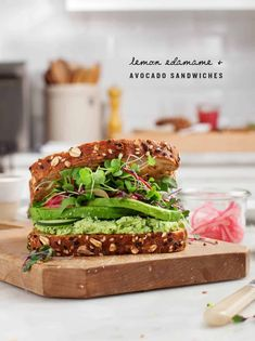This delicious avocado sandwich is the best healthy lunch! It's filled with avocado slices, lemon-edamame spread, cucumber, and pickled onions. Vegan. Avocado Sandwich Recipes, Veggie Sandwich, Best Salad Recipes, Lunch Recipes, Healthy Recipes, Tofu Recipes, Baby Recipes, Healthy Eats, Breakfast Recipes