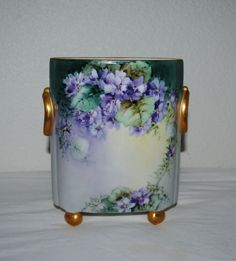 LIMOGES CACHEPOT, 1917, Beautiful Antique Cachepot With Lilacs, Signed And Dated By The Artist by TheBouncingFrogs on Etsy