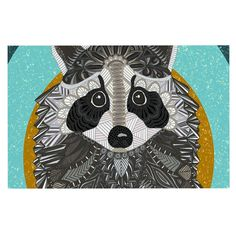 KESS InHouse Art Love Passion 'Racoon In Grass' Gray Teal Dog Place Mat, x >>> See this great image : Dog food container Teal Shower Curtains, Teal Throw Pillows, Dog Food Container, Racoon, Fleece Throw, Fine Art Gallery, Home Art, Kids Rugs, Art Prints