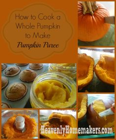 How to Cook a Whole Pumpkin (to make pumpkin puree) - Heavenly Homemakers Baked Pumpkin, Pumpkin Recipes, Fall Recipes, Holiday Recipes, Whole Food Recipes, Pumpkin Pumpkin, Veggie Recipes, Making Pumpkin Puree, How To Cook Squash