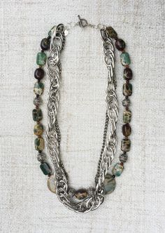 Hadassah Necklace - Turquoise, Gunmetal, Jasper & Sterling Silver Boho Chic Statement Gemstone Handmade Designer Jewelry by StudioHPontvianne on Etsy