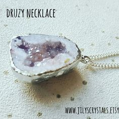 Truly beautiful Amethyst Druzy Geode Crystal necklace, I can infuse with Reiki healing to give you happiness and healing.   #druzy #auraquartz #aquaauraquartz #druzynecklace #nofilter