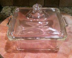 "Vintage Pyrex 7"" Square Glass Pan W/Lid - Beautiful!"