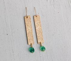 Gold Geometric BAR Earrings Modern Simple Square Brass Long Ombre Green Beads