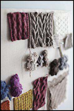 "Inspiration: Swatching insights from Brooklyn Tweed: ""I often think of swatches as post-it notes. They help me visualize a larger group of work and remind me of design details or color combinations in a more tangible way than sketches alone can."""