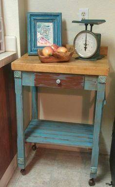 Upcycled small kitchen island cart