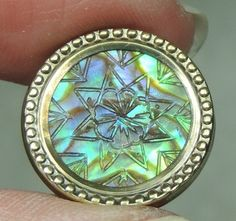 """CARVED ABALONE SHELL BUTTON SET IN BRASS ~ 11/16"""" GREAT COLOR"""