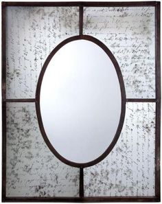 A fantastic piece of art, this wall mirror features an aged hand-written background that surrounds the oval center. An interesting addition to your home decor. $164