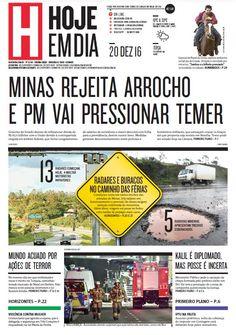 Capa do dia 20/12/2016 #HojeEmDia #Jornal #Notícias #News #Newspaper