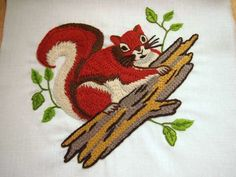 vintage crewel kit: shady squirrel