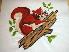 vintage crewel kit: shady squirrel