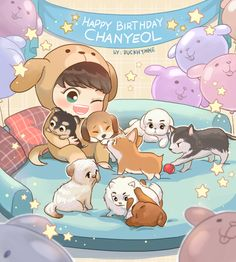 Chanyeol and puppy Exo Cartoon, Cartoon Fan, K Pop, Kpop Exo, Kokobop Exo, Chanyeol Birthday, Exo Birthdays, Exo Music, Exo Anime