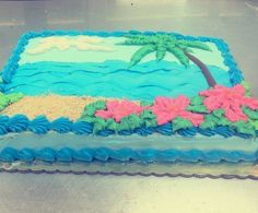 Beach birthday cake | Beach birthday cake ideas | | Birthday cakes ... Beach Cakes, Beach Themes, Cake Cookies, Birthday Cakes, Birthday Ideas, Tropical, Cake Ideas, Inspiration, Image