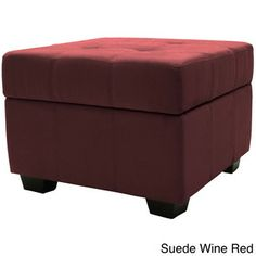 Vanderbilt MicrofiberTufted Padded Hinged 24-inch Square Storage Ottoman Bench