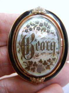 embroidered Hair brooch, memento mori