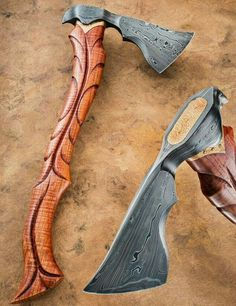 Axe by Tom War at Tempest Craft. Make this but put a cap on the top that has the two nails attached that would swell the wood to secure the axe head. Cool Knives, Knives And Swords, Pretty Knives, Katana, Vikings, Beil, Fantasy Weapons, Custom Knives, Knife Making