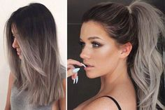 graue Haare - Ombre hair color - You are in the right place about White Ombre Hair, Best Ombre Hair, Ombre Hair Color, Hair Color Balayage, Brown Hair Colors, Cool Hair Color, Hair Highlights, Silver Ombre Hair, Color Highlights