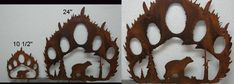 Black Bear and Mountains Silhouette | Rustic Iron Bear Track with Bear Silhouette Rustic Cabin Lodge Wall ...