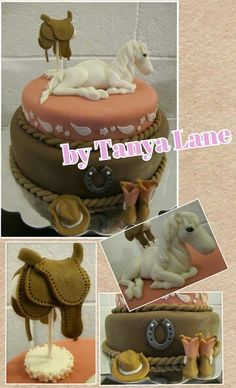 Cowgirl Cake. Fondant horse; saddle/saddle stand; boots; hat; and horseshoe. In pink, white, brown, and paisley.