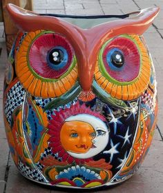 Large Mexican Talavera Planter Owl