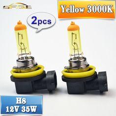 H8 Halogen Bulb Yellow 12V 35W 2 PCS 3000K PGJ19-1 Quartz Glass Car HeadLight Auto Halogen Lamp