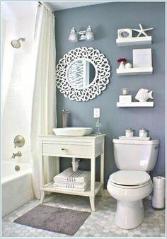 Seashell bathroom decor sea bathroom decor best a nautical home images on beach bathroom decor beach Seashell Bathroom Decor, Beach Theme Bathroom, Nautical Bathrooms, Beach Bathrooms, Bathroom Wall Decor, Bathroom Styling, Bathroom Sets, Small Bathrooms, Bathroom Designs