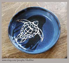 Sea Turtle Pie Plate, wheel thrown pottery