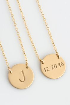 6f9374a8e Etsy Personalized Gold Disc Necklace, Initial Disk Necklace, Minimalist  Necklace,Sterling Silver,