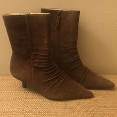 NEW Report Attitude Boot New never worn from the Buckle. Chocolate brown. Zip-up side Gathered leather look at instep Pointed toe Treaded sole for added stability. kitten heel  Manmade majority with some leather Report Shoes Heeled Boots