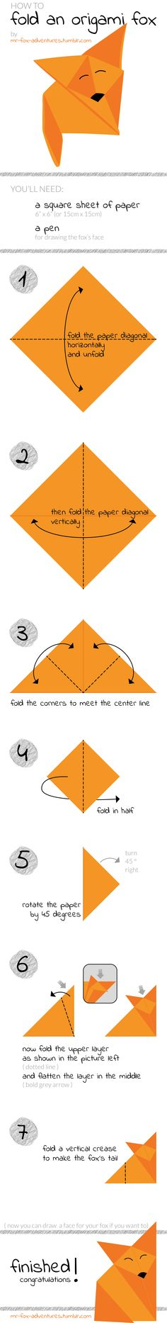 Origami Fox Tutorial for my blog http://mr-fox-adventures.tumblr.com/ #diy #origami #fox