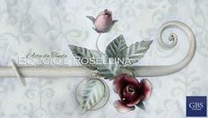 Boccio e rosellina. Asta da tenda in ferro battuto e decorato a mano, tempera anticata. Su misura, con i colori coordinati all'arredamento dell'ambiente. Design: Renee Danzer. GBS Firenze. Made in Italy