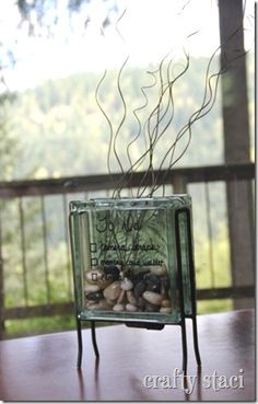 Glass Block idea {DIY terrarium for my office maybe?!}