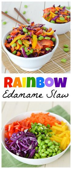 This Rainbow Edamame Slaw is bright and colorful, and packed with lots of nutrients and protein! #soyfoodsmonth #ad @soyfoods
