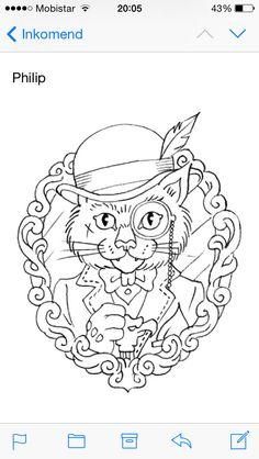 Old school gentlemen cat tattoo @glorybound