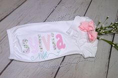 Excited to share this item from my shop: Personalized baby girl newborn gown; baby girl gown with applique name; take home outfit; Newborn Baby Girl Names, Baby Girl Romper, Newborn Picture Outfits, Newborn Pictures, Take Home Outfit, Gowns For Girls, Baby Gown, Bodysuit, Baby Monogram
